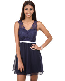 Catwalk 88 V-cut Skater Dress with Lace Upper and Bow Belt Navy