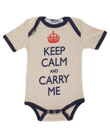 Krag Drag Keep Calm & Carry Me Boys Bodysuit Tan