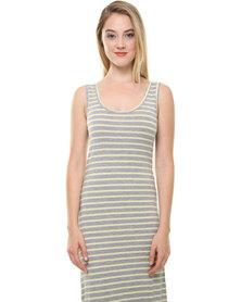 Betty Basics Byron Maxi Stripe Dress Yellow and Grey