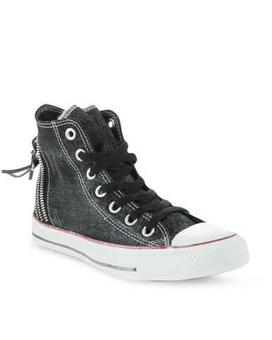 239fe8dbdf48 Converse Chuck Taylor All Star Tri Zip Hi Tops Black
