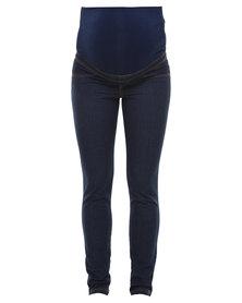 Me-A-Mama Belly Band Skinny Jeans Indigo