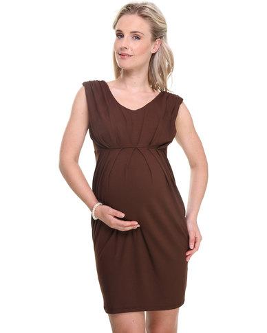 Pure Maternity Sleeveless V-Neck Ruched Dress Dark Brown
