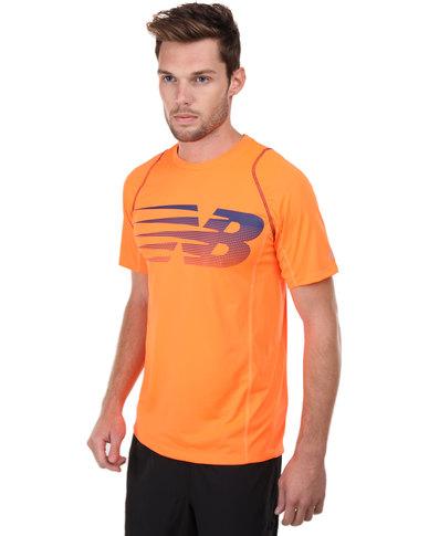 New Balance Performance Accelerate Short Sleeve Print T-Shirt Orange ...