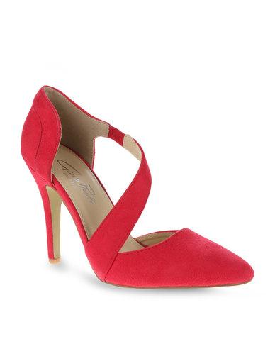 Gino Paoli Cross Strap Mid Heels Red | Zando