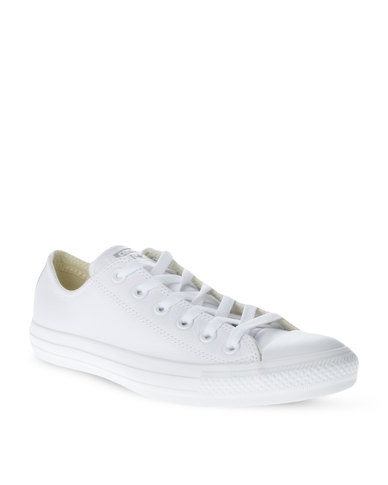 Converse Chuck Taylor All Star Leather Mono Lo Sneakers White  e6284cea667d9