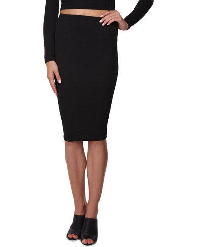 AX Paris Knit Textured Midi Skirt Black