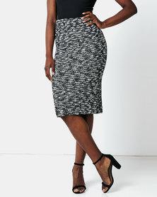 AX Paris Mix Knit Pencil Skirt Black