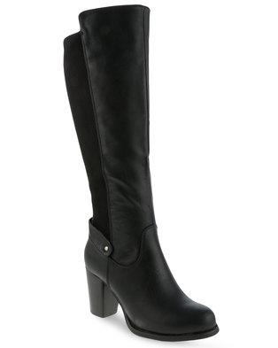 Utopia Knee High Heel Boots Black   Zando