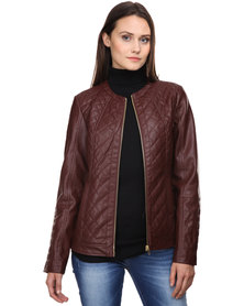 G Couture Biker Jacket with Animal Lining Brown