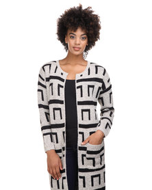 Crave Long Cardigan Beige and Black