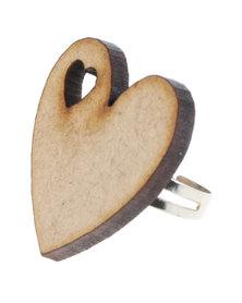 Rings & Things Wooden Heart Ring Brown