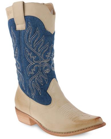 Bronx Women Westee Boots Nude/Blue