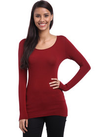 Utopia Longer Length Basic Tee Burgundy