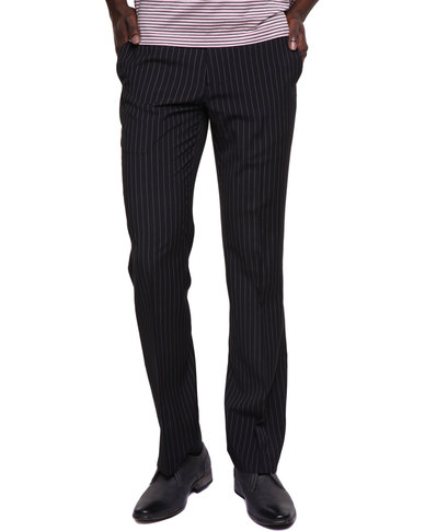 Birdi Polyviscose Mens Pinstripe Trousers Black