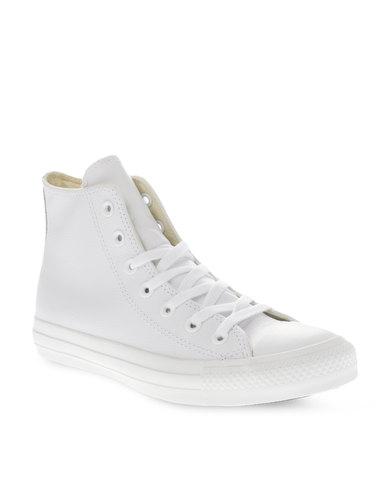 a35f651e2984 Converse Chuck Taylor All Star Hi Leather Mono Sneakers White