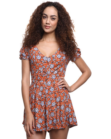 1b0096b4d4c New Look Jackson Floral C S Playsuit Orange