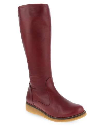 d3a152e9b6b Laceys London Shelbourne Leather Knee-High Boots Burgundy
