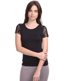 Assuili Emboridered Sleeve Knit Top Black