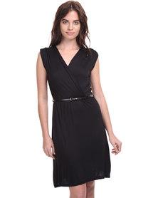 Assuili Cross-Over Belted Dress Black