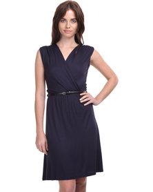 Assuili Cross-Over Belted Dress Navy Blue