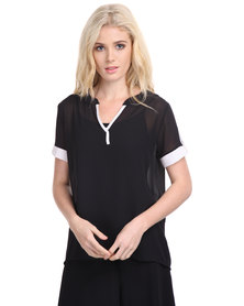 Assuili Longer Length Top Black/White