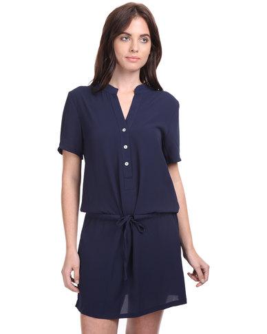 Assuili Drop Waist Dress Navy Blue
