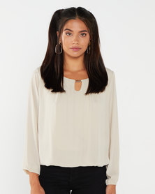 Assuili Long Length Blouse Taupe