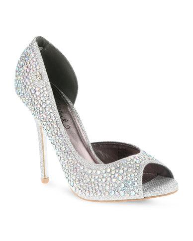 f9dafc977bd Miss Black Sky Heels Silver