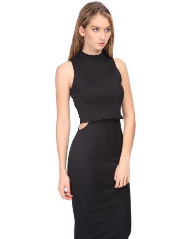 907cab289f30a London Hub Fashion Turtleneck Bodycon Midi Dress Black