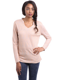 G Couture Lace Overlay Top Salmon