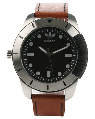 adidas Accessories Adi 1969 Leather Strap Watch Tan