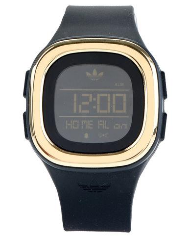 adidas Originals Denver Digital Watch Black and Gold-Tone