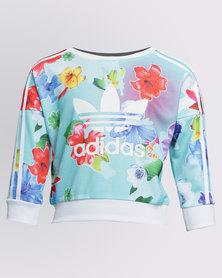 adidas Girls Flower Crew Top Multi