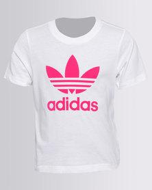 Adidas Girls Trefoil Tee White