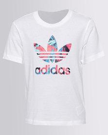 Adidas Girls Feather Tee White