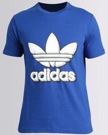 adidas Mens Tee With Trefoil Blue and White