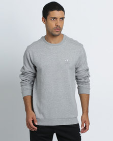 adidas Mens Trefoil 3-Stripes Crew Grey