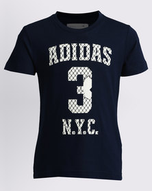 adidas Boys Basic Tee With Graphic Navy