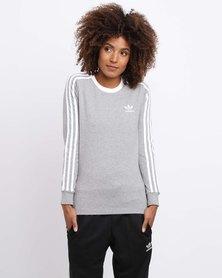 adidas Ladies 3 Stripe Long Sleeve Tee Grey