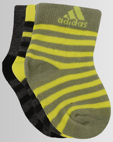 adidas 3 Pack Multi Socks Yellow