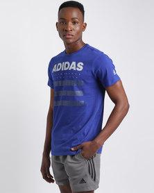 adidas Performance Men's Overbrand Tee Blue