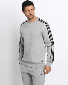 adidas Performance Men's Classic 3 Stripe Crew Sweater Grey/Black