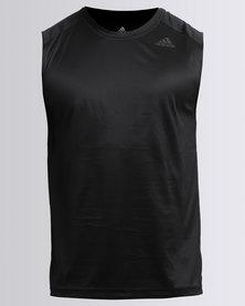 adidas Performance D2M Sleeveless Plain Tee Black