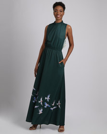 African Style Story Long Dress With Open Stripe Back Green