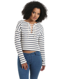 All About Eve Tribe Crew Stripe Top White & Navy