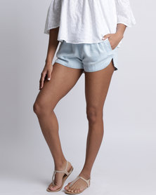 All About Eve Ivory Chambray Shorts Light Blue