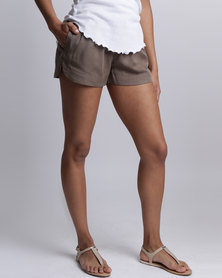 All About Eve Ivory Plain Shorts Khaki