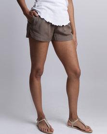 All About Eve Ivory Plain Shorts Khaki