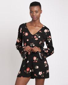 All About Eve Hollis Floral Print Jumpsuit Black