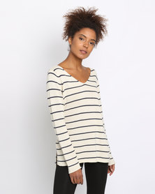 All About Eve Hendrix Knit Top Beige/Navy